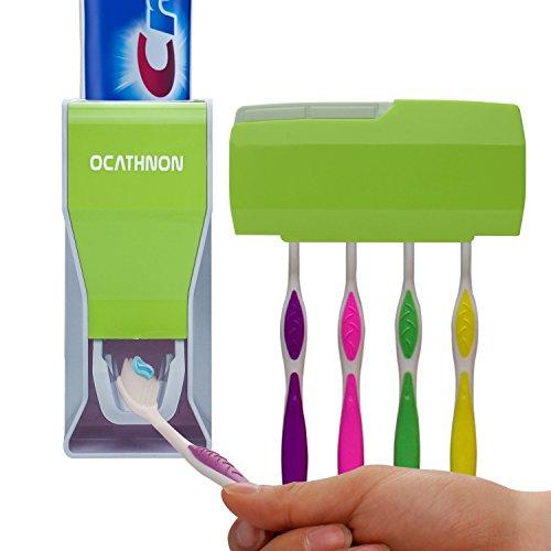 Ocathnon staubdichte Zahnpastaspender und Zahnpasta Squeezer Kit Wand montiert 5 Zahnbürste Halter mit decken Hand kostenlose Zahnpasta-Squeezer-Grün
