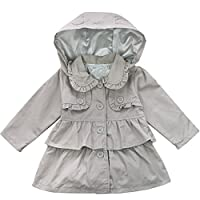 FEESHOW Baby Girls Spring Trench Wind Dust Coat Hooded Jacket Outerwear Dress Outfits Grey 6-12 Months