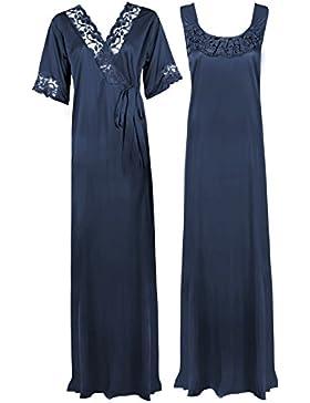 The Orange Tags - Camicia da notte lunga, abbigliamento da notte, da donna, taglia morbida, colore: viola