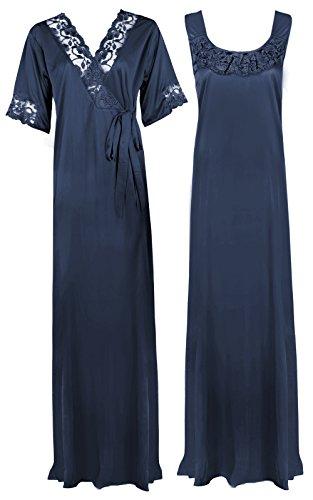 The Orange Tags - Camicia da notte lunga, abbigliamento da notte, da donna, taglia morbida, colore: viola Midnight Blue