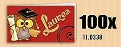 Idea Regalo - 100 PZ Bigliettini bigliettino bomboniera LAUREA con gufo gufetto tocco e pergamena