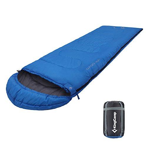 KingCamp Oasis 200 Saco de Dormir Rectangular con Capucha para Acampada, Senderismo, Camping, Confortable y Ligero, hasta 11 Grados Cº, Tela muy Resistente, 220 x 75 cm, Azul