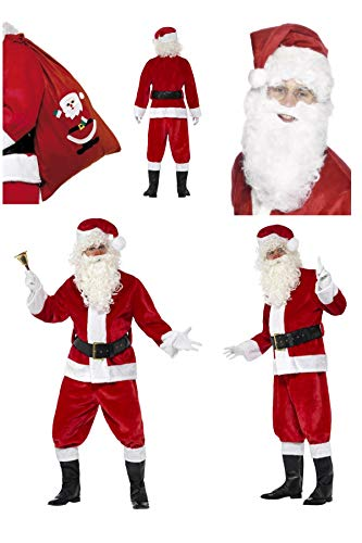 Fancy Dress World - Deluxe Complete Santa Claus Father Christmas Costume - Trousers Jacket Belt Gloves Boot Covers FREE Santa Beard & Sack - Santa's Grotto Panto Party Fun (25963 24497 655)