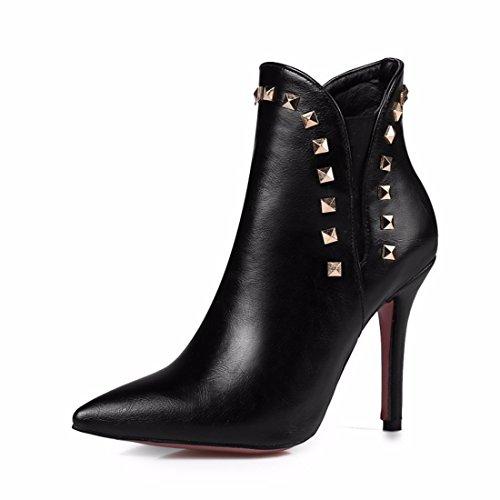 L'automne et l'hiver la taille de chaussures à talons hauts cuspide simple bottes bottes black