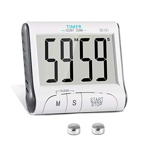 Digitaler Küchentimer Magnetisch KOATECH Kurzzeitmesser Küche 24H Countdown Timer Elektronischer Zeitschaltuhr und Stoppuhr Schallendem Alarm mit Großem LCD Display -