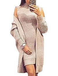 QIYUN.ZSeñoras De La Mujer Suéter Elástico De Ajuste Frente Abierto Chaqueta De Punto Jersey 2Pcs