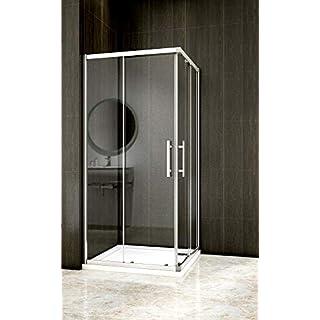 Aica Sanitär 70x70cm Duschkabine Eckeinstieg Duschabtrennung Dusche Schiebetür Duschwand 6mm Glas/185cm Höhe