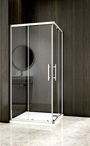 Duschkabine Eckeinstieg Duschabtrennung Dusche Schiebetür Duschwand 6mm ESG Sicherheitsglas Höhe 185cm (80x80cm/6mm Glas)