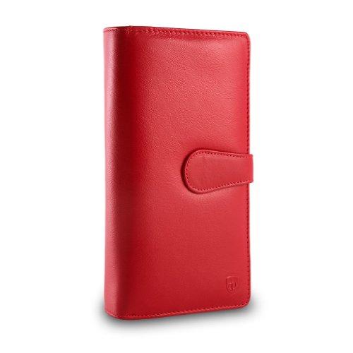 Portafoglio in pelle grande da donna con doppio portamonete DV Rosso