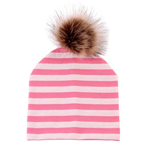 Jinxuny Kinder Kleinkind Kinder Baby Unisex Warme Winter Beanie Cap Cute Kid Babies Beanies Caps Weiche Baumwolle Kind Winter Warme Hüte Skimütze (Color : Pink Stripe) -