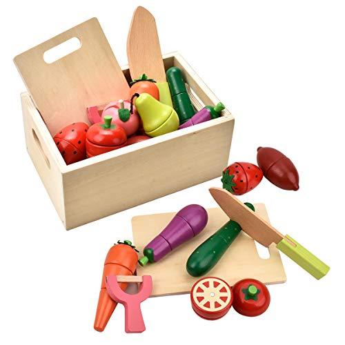 CARLORBO Holzspielzeug für 2 Jahre alte – magnetisches Spielzeug zum Spielen von Lebensmitteln für Obst und Gemüse für Kinder, Rollenspiel-Küche
