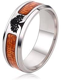 jajafook negro con parte superior plana anillos de boda vida árbol con incrustaciones anillo de hombre