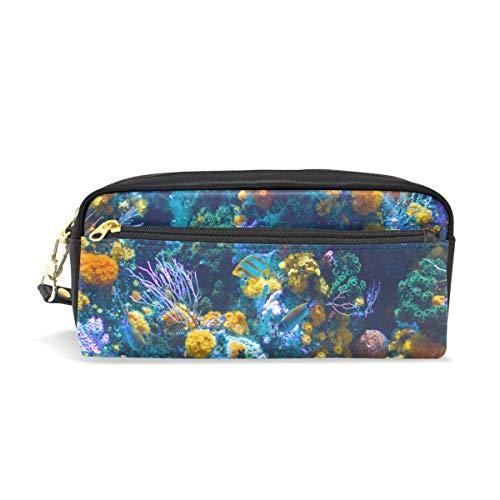 BenNIGIRY Underwater World Coral Reefs Federmäppchen aus PU-Leder mit großer Kapazität für die Schule, Dual Use Stifteetui, Make-up-Tasche für Studenten oder Frauen -