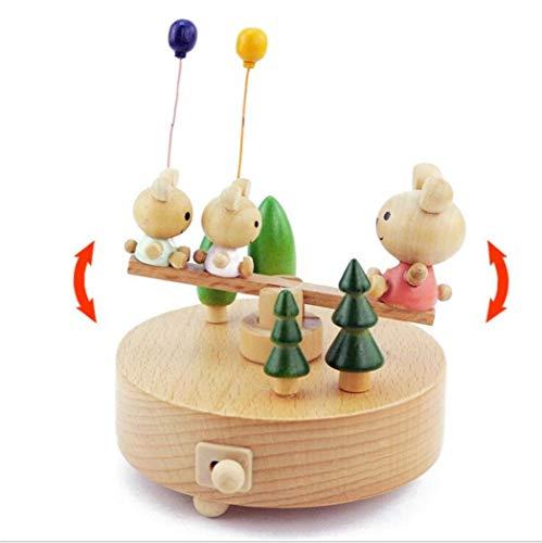 youjiu Dekorationen Windlicht Geschenke Kreative Hölzerne Spieldose - Bär Ballon Wippbrett 12X11X12.5