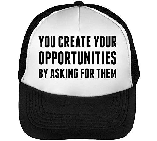 Preisvergleich Produktbild You Create Your Opportunities by Asking Them Shakti Gawain Quote Trucker Cap Herren Damen Schwarz weiß Snapback