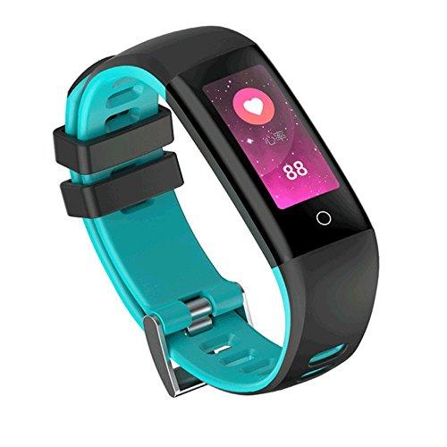 Zmsdt Deportes Pulsera Inteligente Medición de la frecuencia cardíaca Esfigmomanómetro Paso Bluetooth Recordatorio de Mensajes de Llamada IP67 Banda Inteligente a Prueba de Agua (Color : Blue)