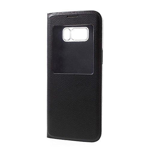 jbTec® Flip Case Handy-Hülle mit Fenster #M50 passend für Samsung Galaxy S8 - Tasche Schutz Cover Booklet Book, Farbe:Schwarz, Modell:Galaxy S8 / Duos/SM-G950
