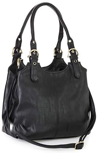 Big Handbag Shop Mehrfachtaschen Mittlere Größe Umhängetasche/Schultertasche für Frauen - Mit langem Schulterriemen und eine kleine Taschencharme (Schwarz (Plain S105)) -