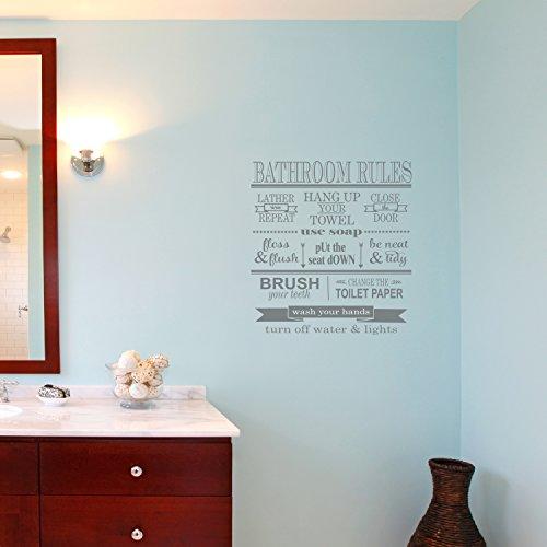 The Vinyl Design Company Bathroom Rules-Vinyl Wand Kunst Aufkleber für die Home Oder Bad Decor-Hände Waschen, Pinsel Zähne, Etc.-38,1cm W x 43,2cm H 15