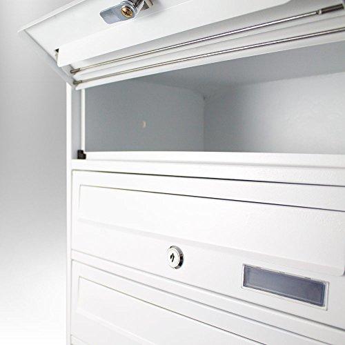 BITUXX® Stand-Briefkastenanlage Postkasten Letterbox Mailbox Doppelt mit 10 Fächer Weiß - 5