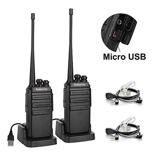 Radioddity GA-2S Walke Talkie Set 4KM Reichweite 16 Kanäle UHF Profi Funkgerät mit Mikro USB-Anschluss, inkl. Wiederaufladbare Akkus, USB-Ladekabel und Transparentes Headset (2 Stücke)