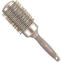 BANGMENG Round Barrel Cepillo para el cabello antiestático | Nano Thermal Ceramic Ionic Tech | Protege el cabello, mejora la textura, para alisar, peinar y secar (2 pulgadas)