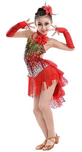 n Tanzkleid Latein Kleid Pailletten Gesellschaftstanz Kleider Set Kinder Dancewear-Rot-140cm ()