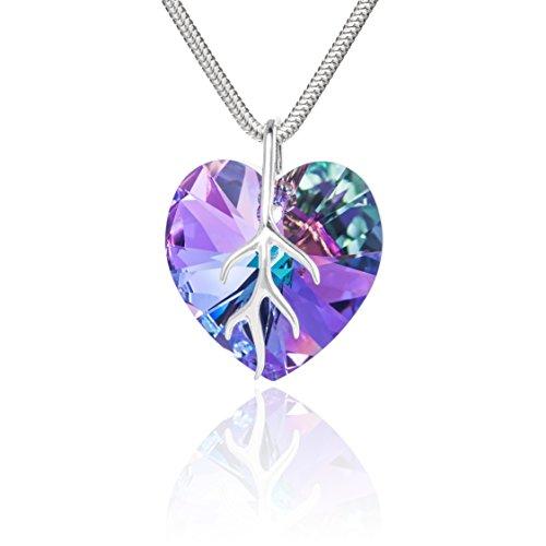 LillyMarie Damen Hals-Silberkette Sterling-Silber 925 original Swarovski Elements Herz mehrfarbig lila Schmuck Etui Geschenkideen für beste Freundin