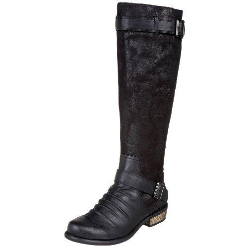 Chinese Laundry Park Damen Rund Faux Wildleder Mode-Knie hoch Stiefel Black/Black