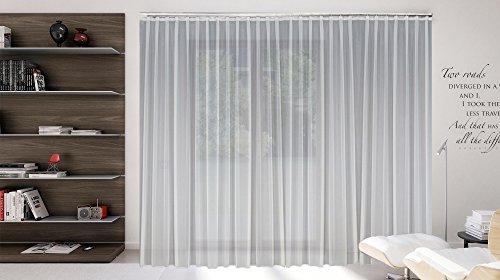 SUNWORLD Maßgeschneiderte weiße Voile Store Gardine, Inklusive Blei und Automatik Faltenband 1:2,5, 3er Falte, Vorhang nach Maß, Höhe 90 – 295 cm(150x400cm/HxB)