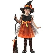 Kolylong Déguisement Enfant Fille Halloween Robe princesse + chapeau de sorcière