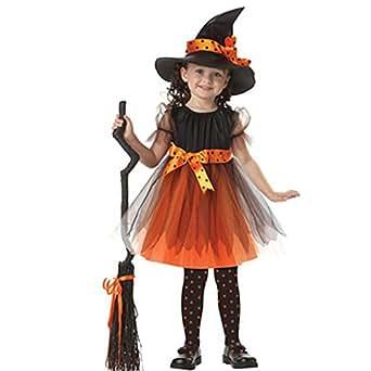 Kolylong Déguisement Enfant Fille Halloween Robe Princesse + Chapeau de Sorcière (Jaune, 2-3 Ans)