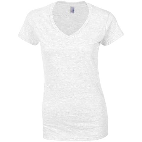 Gildan- Camiseta de manga corta con cuello en forma de V para mujer