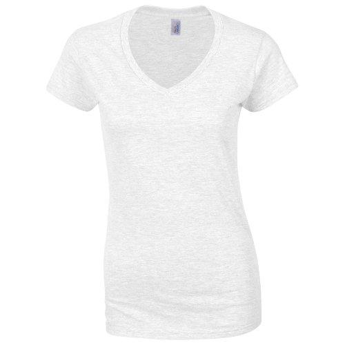 Gildan Damen Kurzarm T-Shirt mit V-Ausschnitt (S) (Weiß) S,Weiß (Weiße Baumwoll-casual Shirt)