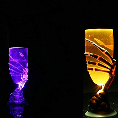 Kaffee Cup Kostüm - Eliasan Glowing Claw Becher Spooky Skeleton Skull Halloween Cup mit LED-Licht für Wassersaft und Halloween-Dekorationen Whisky Home Bar