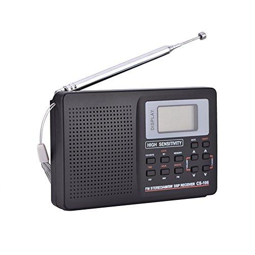 Vollfrequenzempfänger Radio mit Wecker FM/AM/SW/LW/TV Ton Vollfrequenzempfang LCD Display, Kurzwelle, Stereo Modus Tragbares Radio(Typ 2)
