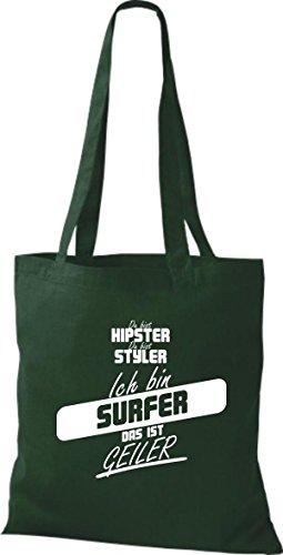 Borsa Di Stoffa Shirtstown Sei Hipster Sei Stiler Sono Surfer Questo È Verde Corneo