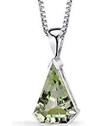Peora Chevron Cut 6.75 carats Green Amethyst Sterling Silver Rhodium Finish Pendant with 18 inch Silver Necklace