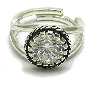 Sterling silber ring mit 9mm KZ 925 Empress Einstellbare Größe