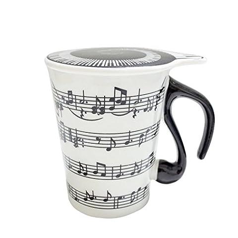 Giftgarden Musician Coffee MUG with Lid Staves Music (Personalizzati Tazza Di Caffè)