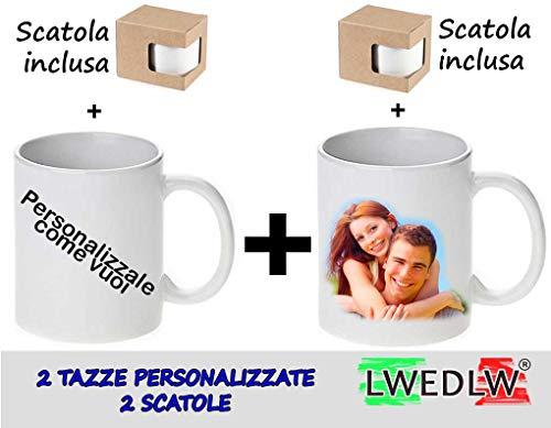 Lwedlw 2 tazze personalizzate con foto - immagine - frase-logo o disegno tazza