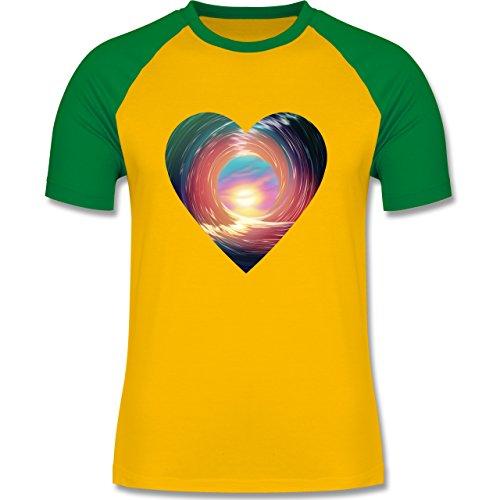 Wassersport - In the tube - surfing - zweifarbiges Baseballshirt für Männer Gelb/Grün