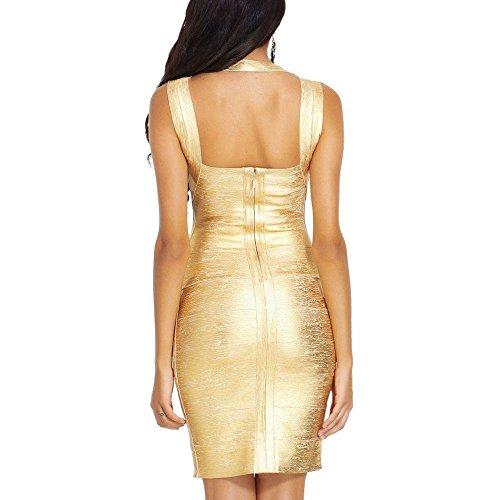 HLBandage Women's Sexy Metallic Sleeveless Halter Bodycon Bandage Dress Or