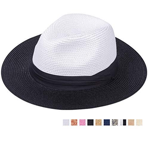 Maylisacc Panamahut Rollbar aus Natürlichen Faser Handgewebt (Schwarz & Weiß SZ) (Frauen Schwarzen Und Weißen Hut)