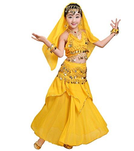 Gute Kostüm Tanz - Anguang Mädchen Bauchtanz Rock Set Kinder Halloween Tanz Kostüm Gelb#2 M