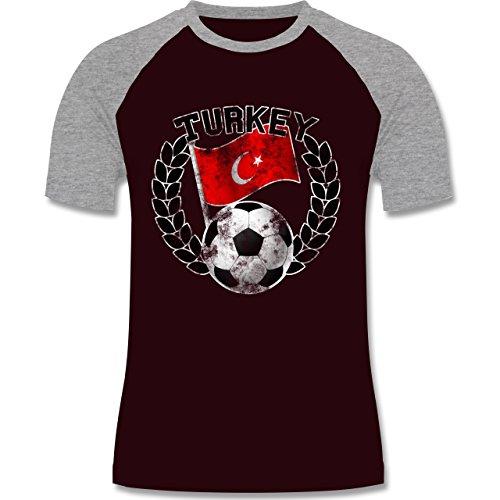EM 2016 - Frankreich - Turkey Flagge & Fußball Vintage - zweifarbiges Baseballshirt für Männer Burgundrot/Grau meliert
