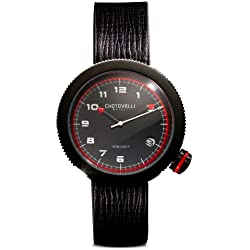 Chotovelli 8000-5 Gauge Men Wrist Watch Stainless Steel Black Leather Strap