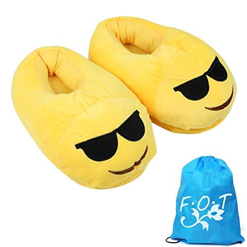 Emoji peluche pantofole inverno occhiali scarpa cacca scarpa morbido peluche cotone pantofola caldo indoor unisex-adulti adolescenti 35-41 cn