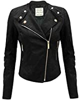 NEW Womens fur BIKER JACKET Crop FAUX LEATHER Ladies ZIP Coat Size 8 10 12 14 16
