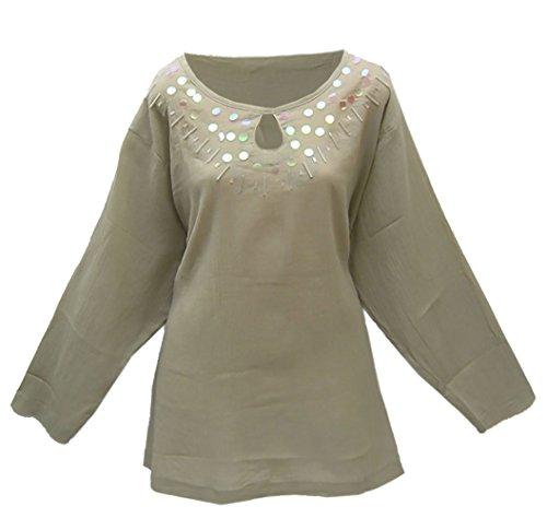 adonia mode Tunika mit irisierenden Pailletten Khaki